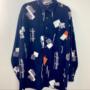 TRUST COUTURE COLLECTION Button Front Navy Shirt L